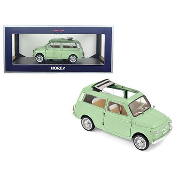 1962 Fiat 500 Giardiniera Light Green 1/18 Diecast Model Car by Norev
