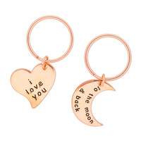 Rose Gold I Love You to the Moon and Back Keychains