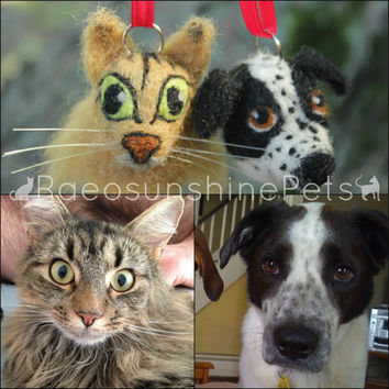 Custom Pet Dog Cat Needle Felted Bust - Christmas Ornament - Rear View Mirror Decoration - Personalized Gift for Dog Lovers Crazy Cat Lady