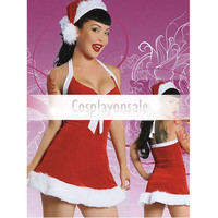 Red White Fur Trimmed Halter Santa Sexy Christmas Costume [TSY111116036] - $18.99 : Cosplay, Cosplay Costumes, Lolita Dress, Sweet Lolita