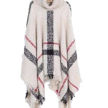 Women's Oversized Turtle Neck Knit Ivory/Red/Black Plaid Poncho Jacket