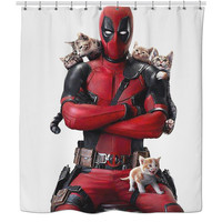 Deadpool and Cats Shower Curtain