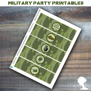 Party Printable Military Army Soldier Boot Camp Drink Bottle/Cup Labels in Green Camouflage