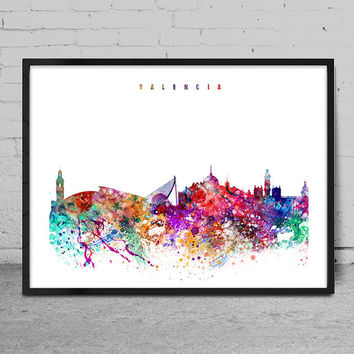 Valencia Print, Poster, Wall art, Valencia Spain  skyline, City poster, Skyline art, Home Decor, Digital Print-x04