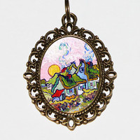 Thatched Cottages Necklace, Van Gogh, Sunshine, Farm House, Fine Art Jewelry, Reminiscence Of The North, Bronze Oval Pendant