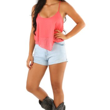 Point To Her Crop Top: Coral