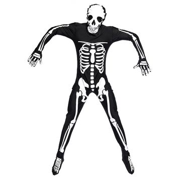 Adult Men The Dark Skeleton Costume Catsuit Jumpsuit Male Halloween Costume Men's Dress Up Role Play Party Costume for Men M XL