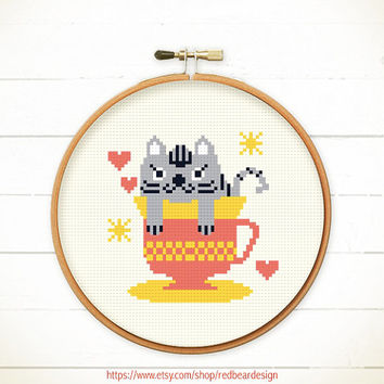 Funny Modern Cross stitch pattern PDF - Cat in teacup - Instant download - Happy grey cat , Cheerful, sweetie & Cute kitten with heart love