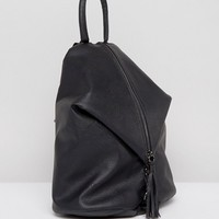 ASOS Front Zip Backpack With Dog Clip And Tassel at asos.com