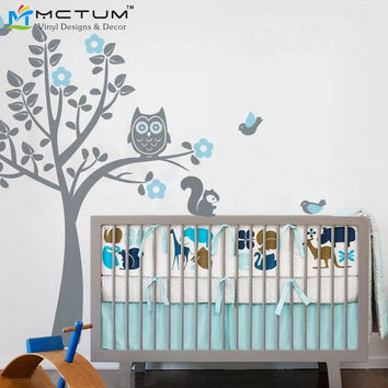 Mmctum Brand Owl Tree Wall Decal Tree Wall Stickers with Birds Squirrels Baby Nursery Bedroom Decor Free Shipping