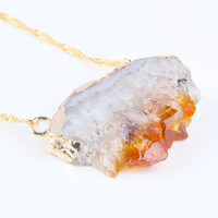 CITRINE GEODE PENDANT : New Age Crystal Healing, Meditation, Chakras, Citrine, Stone Pendant, Hippie