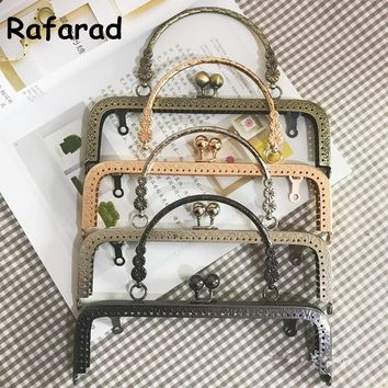 10 pcs per lot 20 cm Four Color DIY Handbag Accessories With Metal Bag Handle Obag Fashion Nice Metal Purse Frame Bag Parts