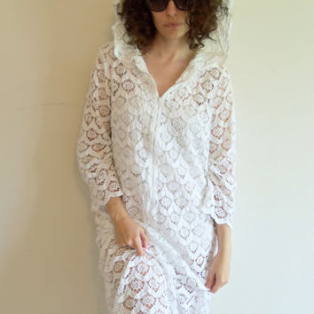 Amazing Vintage Hippie Boho Lace Swim Suit Cover Up with Hood