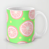 Pink Grapefruit and Dots - Green Mug by Lisa Argyropoulos