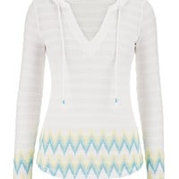 Chevron Bottom Open Stitch Hooded Pullover - White