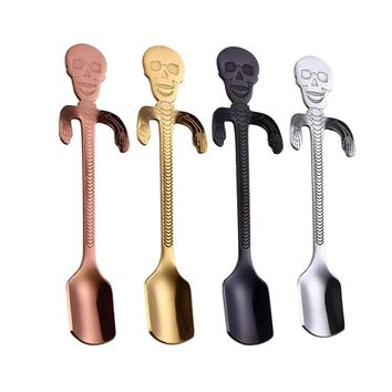 Coffee Spoon Stainless Steel Tea Hanging cups Supplies Tableware Kitchen Skull