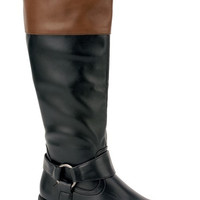 Vivienne Tall Two Toned Riding Boots : Black & Brown