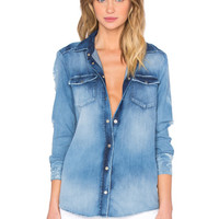 Distressed Button Up in Breeze Blue