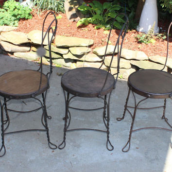 Antique Twisted Iron Ice Cream Chairs, In good, solid condition, Nothing Cuter than these Chairs, Original Condition