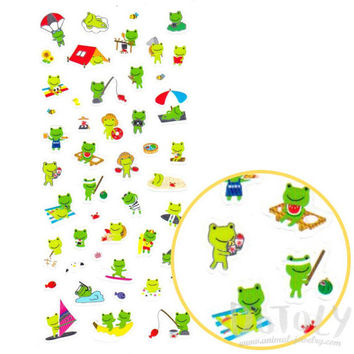 Green Froggy Frogs Toads Going Camping Shaped Cartoon Stickers | Cute Animal Inspired Scrapbook Decorating Supplies