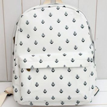 DCCKIX3 Cute Striped Plaid Animal Lovely Stripes Korean Canvas Floral Backpack = 4888062276