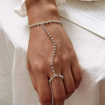 Rhinestone Engraved Finger Chain Bracelet 1Pc