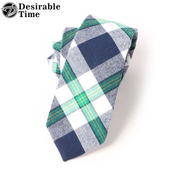 Men Skinny Cotton Tie Design Narrow Plaid Necktie Fashion Wedding Gingham Ties For Men