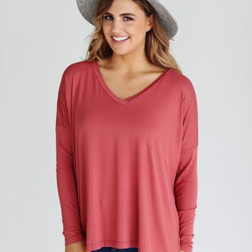 Marsala PIKO V-Neck Long Sleeve Top