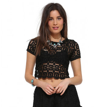 Lace Cropped Top with Criss Cross Back