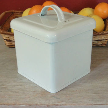 Vintage White Kitchen Enamel Container Box - Cookie- Flour - Sugar Tin