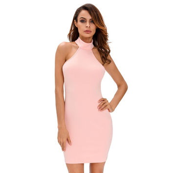 Lace up back halter neck dress summer hot selling products online shop china 2017 black pink dresses for women clothing A22713