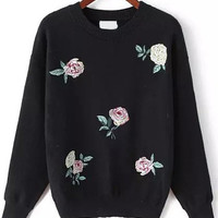 Black Rose Embroidered Sweater