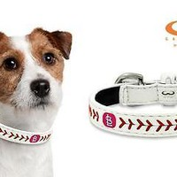 St Louis Cardinals Classic Stitched Leather Extra Small MLB Baseball Dog Collar