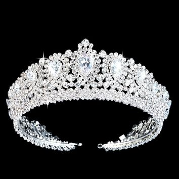 Luxury Handmade Wedding Diadem Tiaras Crown With Teardrop Zirconia Crystal Elegant