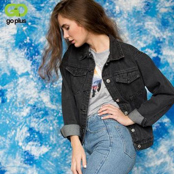 GOPLUS 2017 Fashion Black Vintage BF Denim Jacket Jeans Autumn Women Basic Coats Short Jean Plus Size Outerwear C3016