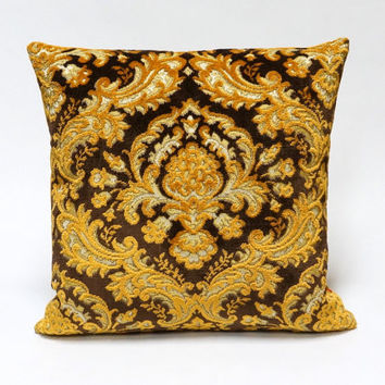 Brow Velvet Damask Pattern Pillow Cover - Handmade with Love from vintage upholstery fabrics