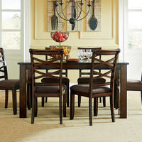 Cherry Stain Dining Table Set | Redondo Seven Piece Dinette Set
