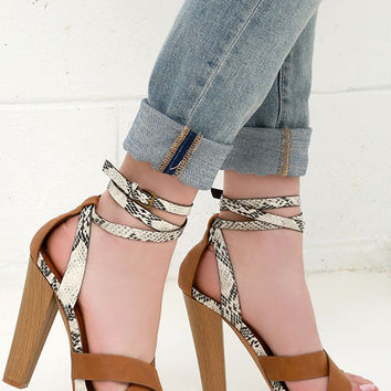 Stake Out Tan Snakeskin Ankle-Wrap Heels