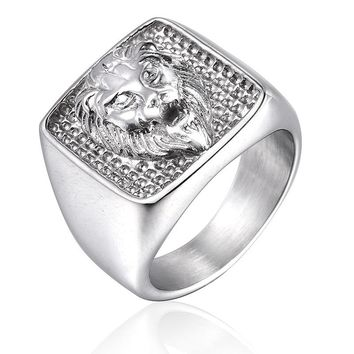 Animal Lion Men Signet Ring Seal Square Silver Gold Color Titanium Stainless Steel Male Rings Jewelry Band Punk Hip Hip DCR095