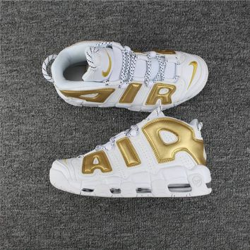Nike Air More Uptempo 96 White/Gold s40--46