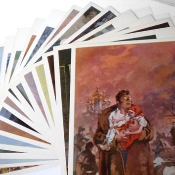 "Fine art set of 14 illustrations cards Leo Tolstoy ""War and Peace"" 1976"