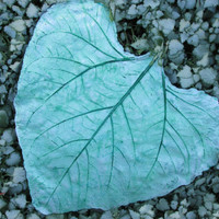 One of a kind Concrete Leaf, Hand painted leaf, Yard art, Patio decor, Green concrete leaf
