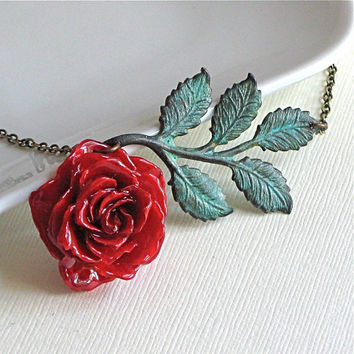 Preserved Red Rose Necklace - Real, Flower Jewelry, Verdigris Brass, Leaves