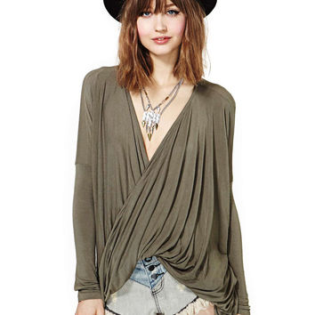 Dark Green V-Neck Cuff Long Sleeve Draped Top