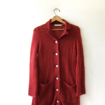 vintage mohair cardigan sweater. berry red sweater coat. long cardigan with pockets.