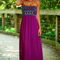 Fall Into Aztec Maxi, Purple