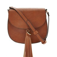 Tasseled Faux Leather Crossbody