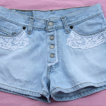 Levi Crochet Lace Embellished Womens Denim Shorts (Womens Levis)
