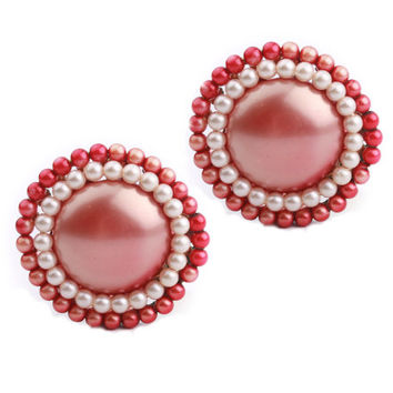 Round Rose Color Bead Clip On Earrings