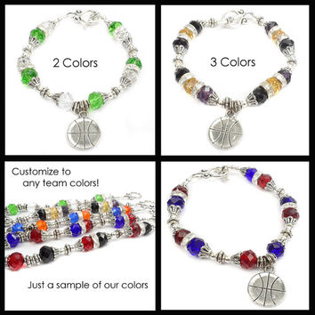 Basketball Bracelet: Cheerleader Team Spirit Jewelry,  Custom Sports Jewelry